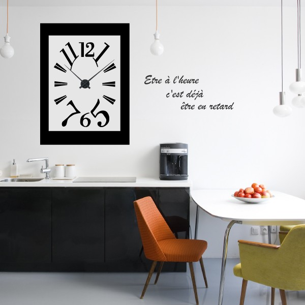 sticker mural horloge g ante comtoise suspendue avec m canisme aiguilles ebay. Black Bedroom Furniture Sets. Home Design Ideas