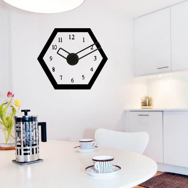 sticker mural horloge g ante design hexagonal avec m canisme aiguilles ebay. Black Bedroom Furniture Sets. Home Design Ideas