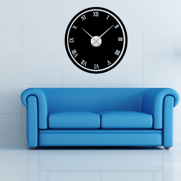 sticker mural horloge g ante cadran couleur chiffre romain m canisme aiguilles ebay. Black Bedroom Furniture Sets. Home Design Ideas
