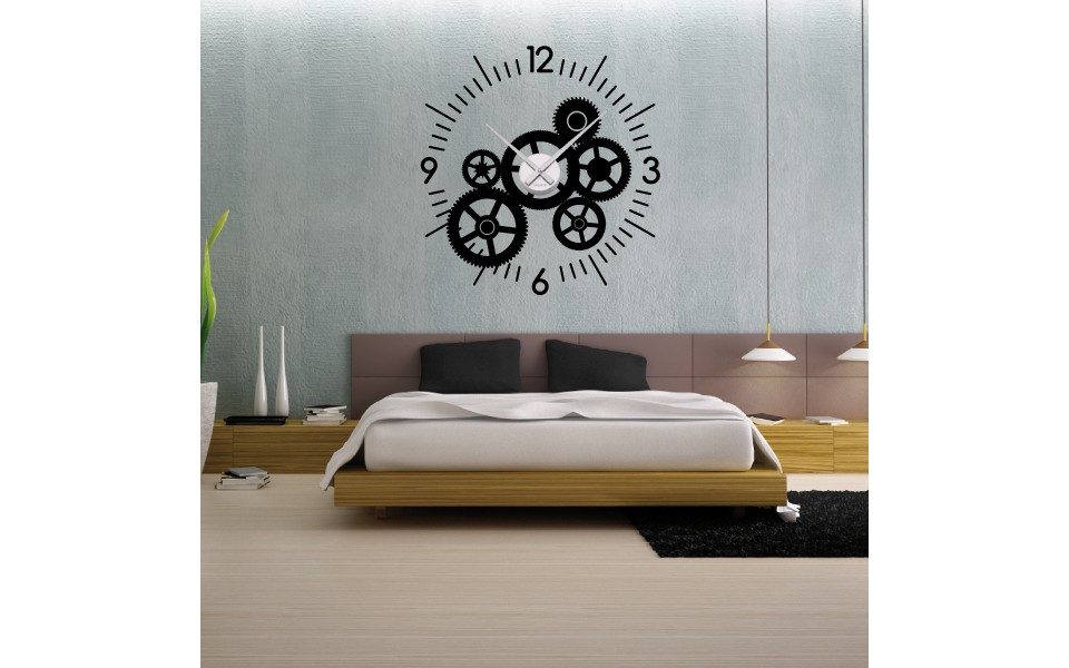 sticker mural horloge geante aiguille cuisine pictures. Black Bedroom Furniture Sets. Home Design Ideas