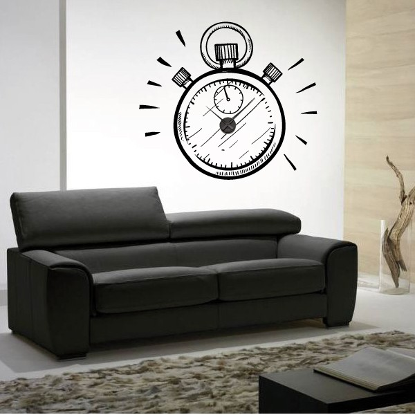 sticker mural horloge g ante montre gousset avec m canisme aiguilles ebay. Black Bedroom Furniture Sets. Home Design Ideas