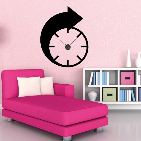 sticker mural horloge g ante fleche design avec m canisme aiguilles ebay. Black Bedroom Furniture Sets. Home Design Ideas