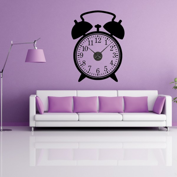 sticker mural horloge g ante reveil avec m canisme aiguilles ebay. Black Bedroom Furniture Sets. Home Design Ideas