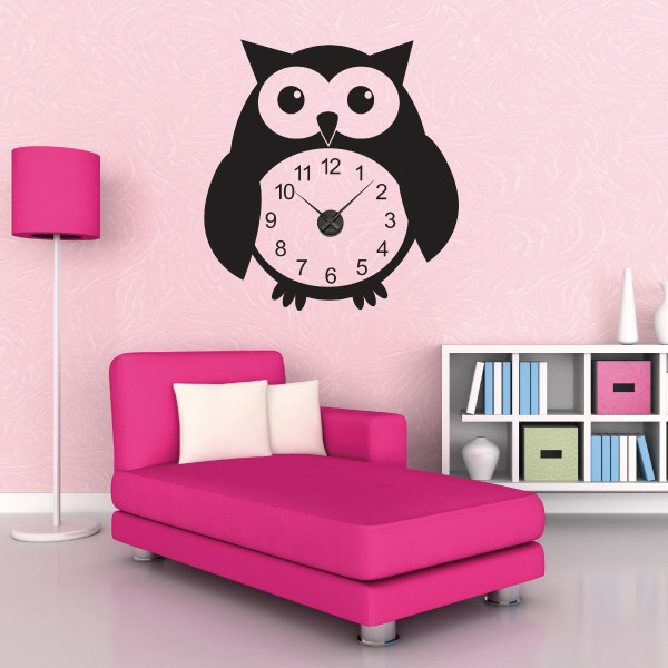 sticker mural horloge g ante hibou avec m canisme aiguilles ebay. Black Bedroom Furniture Sets. Home Design Ideas