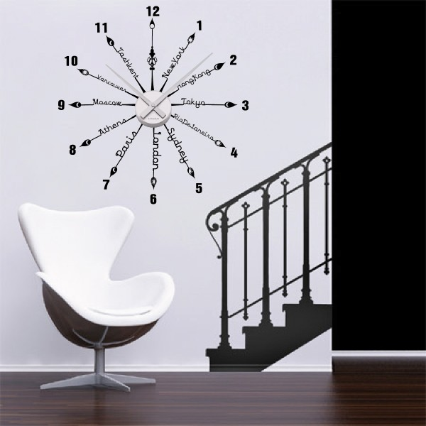 sticker mural horloge g ante villes du monde texte avec m canisme aiguilles ebay. Black Bedroom Furniture Sets. Home Design Ideas