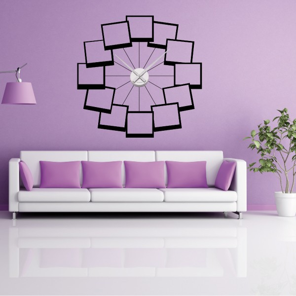 sticker mural horloge g ante 12 photos perso avec m canisme aiguilles ebay. Black Bedroom Furniture Sets. Home Design Ideas