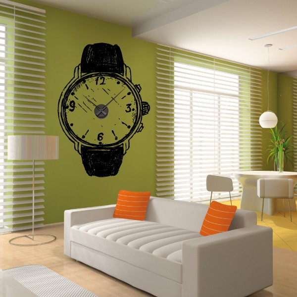 sticker mural horloge g ante montre esquisse avec m canisme aiguilles ebay. Black Bedroom Furniture Sets. Home Design Ideas