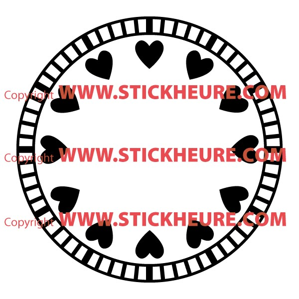 sticker mural horloge g ante petits coeur amour avec m canisme aiguilles ebay. Black Bedroom Furniture Sets. Home Design Ideas