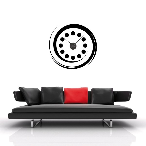 sticker mural horloge g ante spirale tourbillon avec m canisme aiguilles ebay. Black Bedroom Furniture Sets. Home Design Ideas