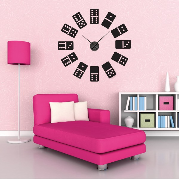 sticker mural horloge g ante jeu de dominos avec m canisme aiguilles ebay. Black Bedroom Furniture Sets. Home Design Ideas